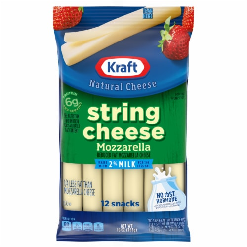 Kraft Reduced Fat Mozzarella String Cheese Sticks 12 Count Perspective: front