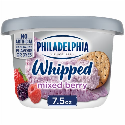 Philadelphia Whipped Mixed Berry Cream Cheese Perspective: front