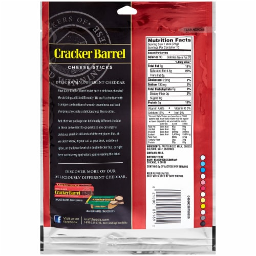 Cracker Barrel Rich & Bold Extra Sharp White Cheddar Cheese Sticks Perspective: front