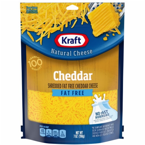 Kraft Fat Free Natural Cheddar Cheese Shreds Perspective: front