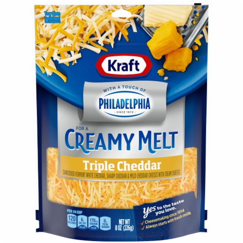 Kraft Triple Cheddar with a Touch of Philadelphia Cream Cheese Shredded Cheese Perspective: front