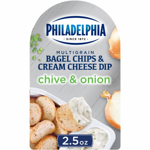 Philadelphia Bagel Chips and Chive & Onion Cream Cheese Dip Perspective: front