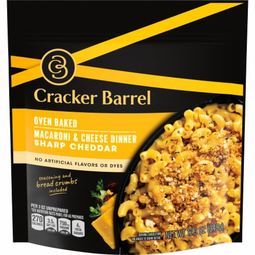 Cracker Barrel Oven Baked Sharp Cheddar Macaroni & Cheese Dinner Perspective: front