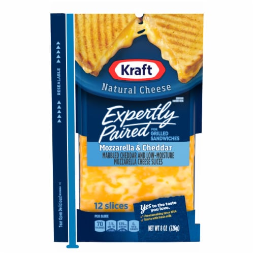 Kraft Expertly Paired Mozzarella & Cheddar Cheese Slices Perspective: front