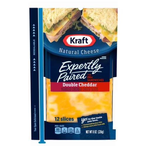 Kraft Expertly Paired Double Cheddar Cheese Slices Perspective: front