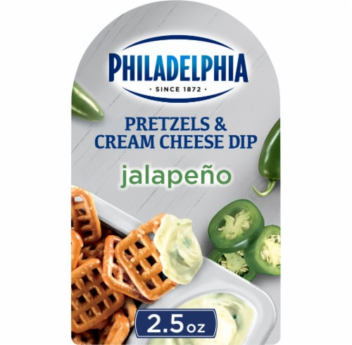 Philadelphia Pretzels and Jalapeno Cream Cheese Dip Perspective: front