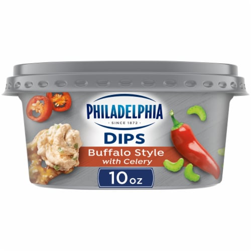 Philadelphia Dips Buffalo Style with Celery Cream Cheese Dip Perspective: front