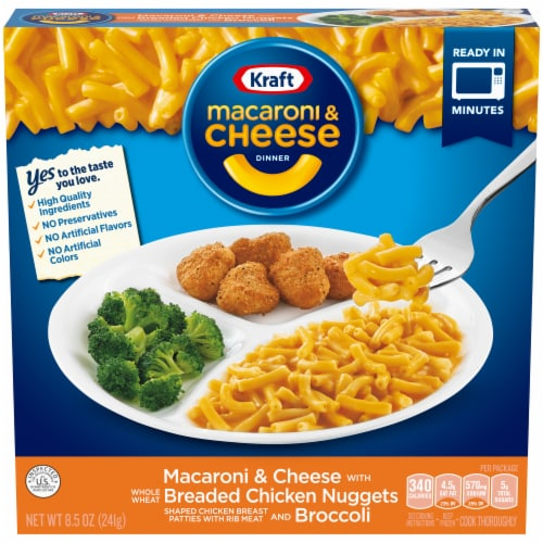 Kraft Macaroni & Cheese with Breaded Chicken Nuggets and Broccoli Frozen Dinner Perspective: front