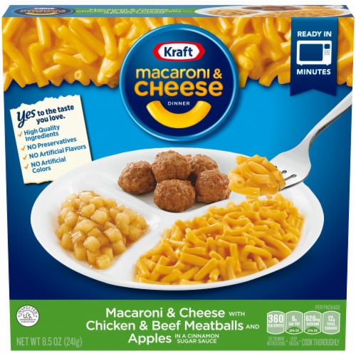 Kraft Macaroni & Cheese with Chicken & Beef Meatballs and Apples Perspective: front