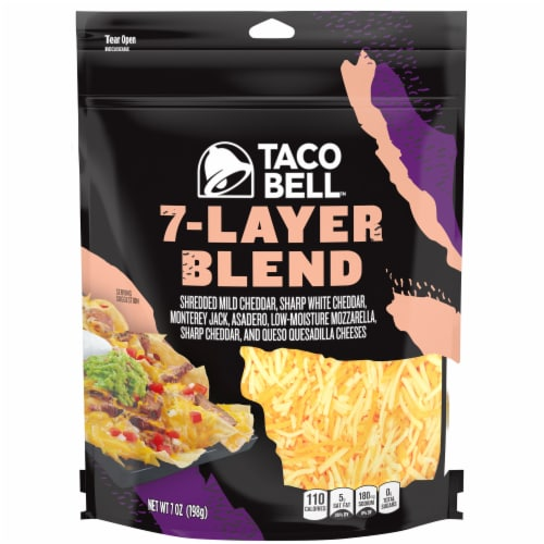 Taco Bell 7-Layer Blend Shredded Cheese Perspective: front