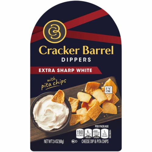 Cracker Barrel Dippers Extra Sharp White Cheddar with Pita Chips Perspective: front