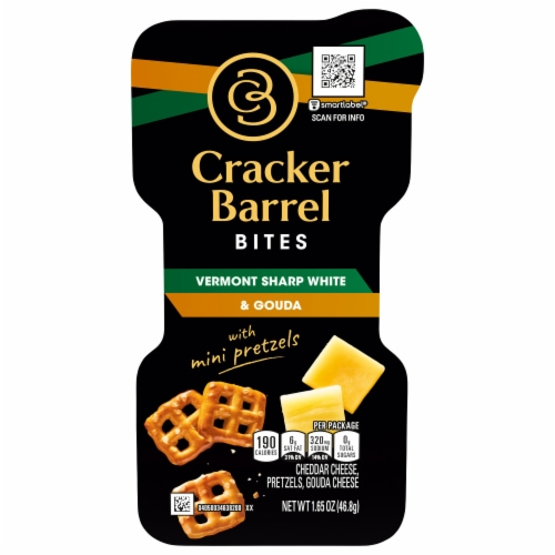 Cracker Barrel Vermont Sharp White and Gouda Bites with Mini Pretzels Perspective: front