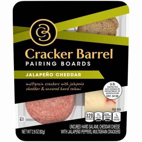 Cracker Barrel Pairing Boards Jalapeno Cheddar and Uncured Hard Salami Perspective: front