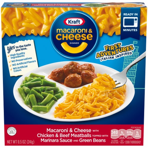 Kraft First Adventures Italian Inspired Mac and Cheese with Meatball and Green Beans Perspective: front