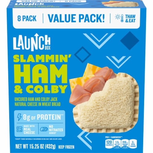 LaunchBox Slammin' Ham and Colby Frozen Sandwiches Perspective: front