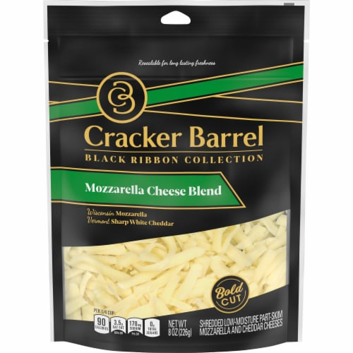 Cracker Barrel Mozzarella Chese Blend Shredded Cheese Perspective: front