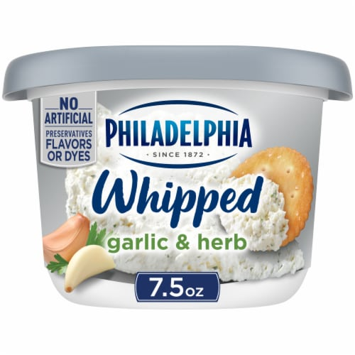 Philadelphia Garlic & Herb Whipped Cream Cheese Spread Perspective: front