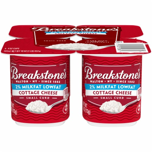 Breakstone's Small Curd 2% Milkfat Low Fat Cottage Cheese Cups Perspective: front
