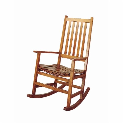 Saltoro Sherpi Traditional Wooden Porch Rocking Chair, Warm Brown Perspective: front