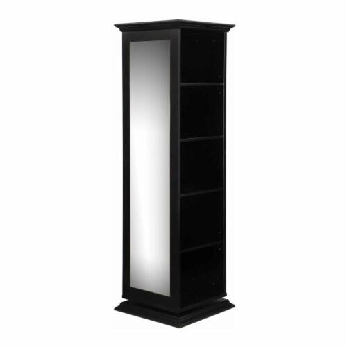 Coaster 5 Shelf Swivel Bookcase in Black Perspective: front