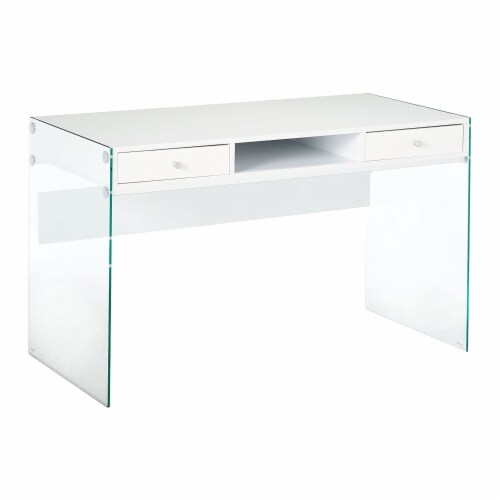 Coaster Dobrev Modern 2 Drawer Writing Desk in Glossy White Perspective: front