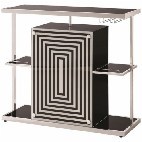 Coaster Contemporary Bar Unit in Glossy Black Perspective: front