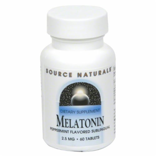 Source Naturals Melatonin Peppermint Flavored Sublingual Tablets Perspective: front