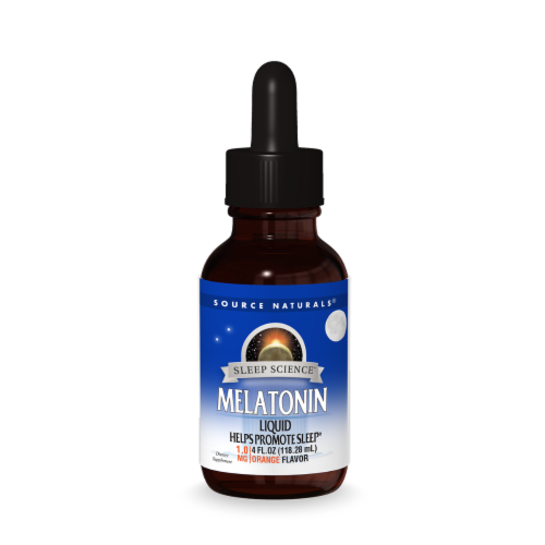 Source Naturals Melatonin Natural Orange Sublingual Liquid Perspective: front