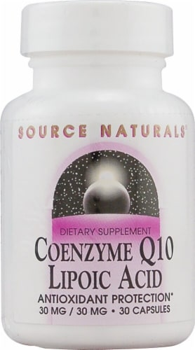 Source Naturals Coenzyme Q10 Lipoic Acid Capsules 30 Count Perspective: front