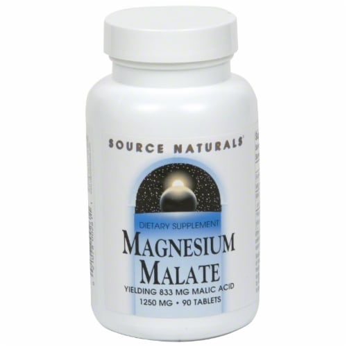 Source Naturals Magnesium Malate Tablets 1250mg Perspective: front