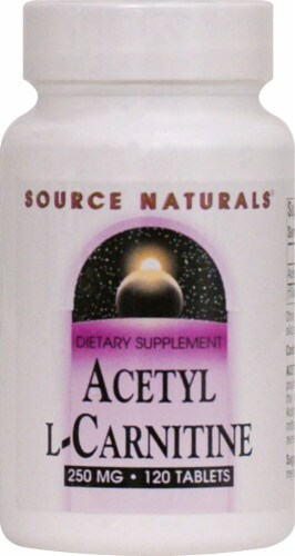 Source Naturals Acetyl L- Carnitine Tablets 250mg 120 Count Perspective: front