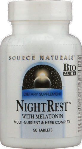 Source Naturals Night Rest with Melatonin Tablets Perspective: front