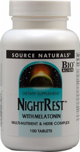 Source Naturals  NightRest™ with Melatonin Perspective: front