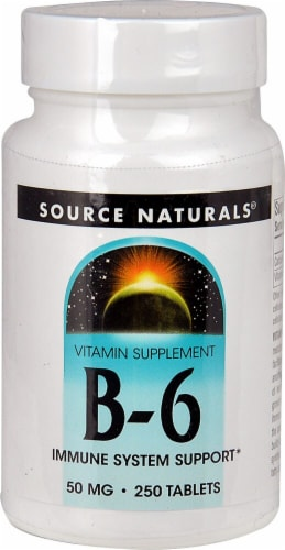 Source Naturals B-6 Immune System Support Tablets 50mg 250 Count Perspective: front