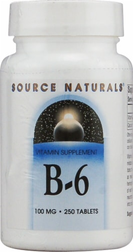 Source Naturals B-6 Tablets 100mg 250 Count Perspective: front
