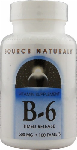 Source Naturals B-6 Timed Release Tablets 500mg 100 Count Perspective: front
