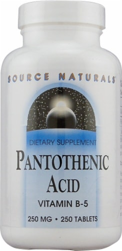 Source Naturals Pantothenic Acid Vitamin B-5 Tablets 250mg Perspective: front