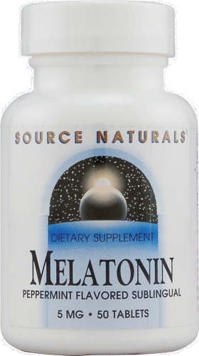 Source Naturals Melatonin Peppermint Flavored Tablets 5 mg Perspective: front