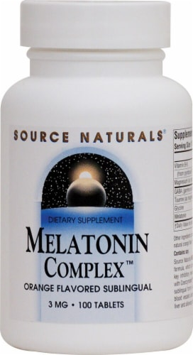Source Naturals Melatonin Complex Orange Flavored Tablets 3 mg Perspective: front