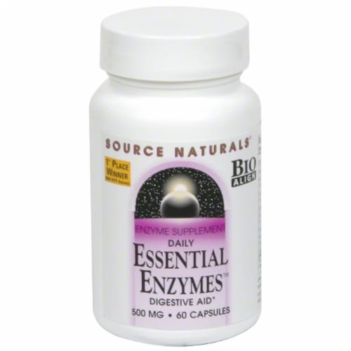 Source Naturals Daily Essential Enzymes Digestive Aid 500 mg Capsules Perspective: front