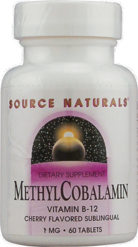 Source Naturals MethylCobalamin Cherry Flavored Vitamin B-12 Tablets 1mg Perspective: front