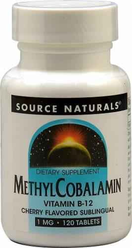 Source Naturals MethylCobalamin Vitamin B12 Cherry Lozenges 1mg Perspective: front
