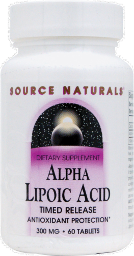 Source Naturals Alpha Lipoic Acid 300 mg Tablets Perspective: front