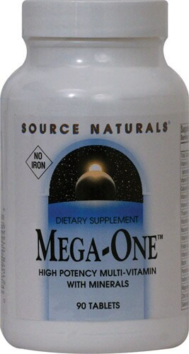 Source Naturals  Mega-One™ Multi-Vitamin Iron Free Perspective: front