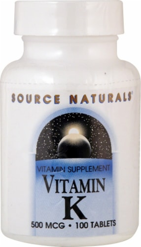 Source Naturals Vitamin K Tablets 500mcg Perspective: front