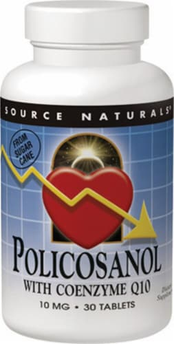 Source Naturals Policosanol with Coenzyme Q10 Tablets 10mg Perspective: front