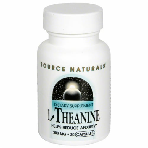 Source Naturals L-Theanine 200 mg Dietary Supplement Perspective: front
