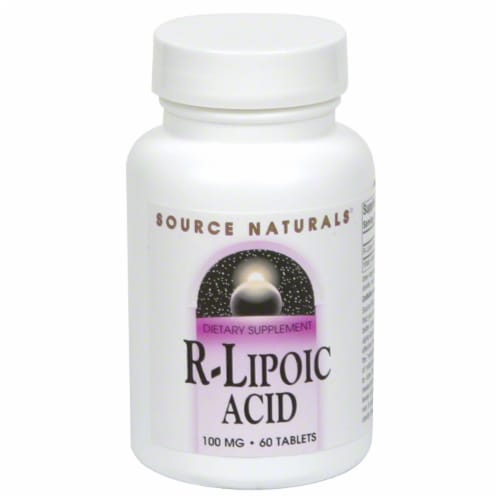Source Naturals R-Lipoic Acid Dietary Supplement Tablets 100mg Perspective: front
