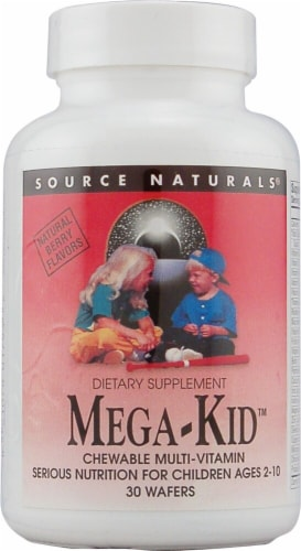 Source Naturals Mega-Kid Multi-Vitamin Natural Berry Chewable Wafers 30 Count Perspective: front