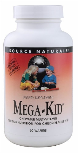 Source Naturals Mega-Kid Multi-Vitamin Chewable Wafers 60 Count Perspective: front
